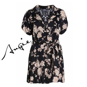 (N) Black Floral Shirt Plus Midi Dress Sz-3X